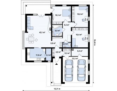 Проект Z200 L + 100 Увеличенная версия типового проекта Z200  Проекты домов и гаражей
