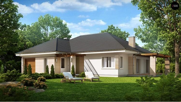 Проект одноэтажного дома с гаражом для одной машины и возможностью адаптации чердачного помещения - Z201