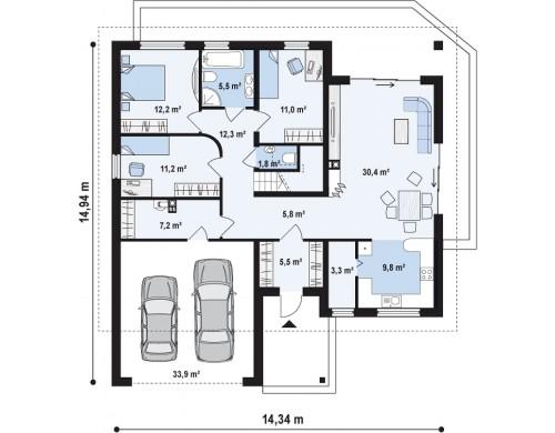 Проект дома с современными архитектурными дополнениями. Свободная планировка мансарды и антресоль над гостиной - Z202