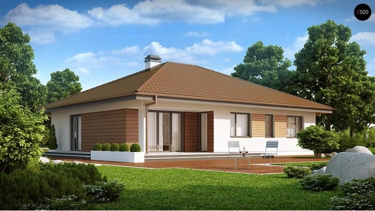 Проект удобного одноэтажного дома с гаражом для двух автомобилей и большим хозяйственным помещением - Z203