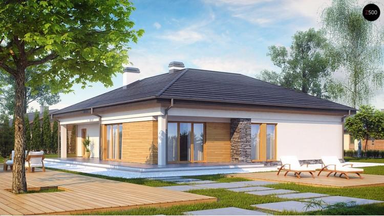 Проект функционального одноэтажного дома. Ночная зона во фронтальной части, кухня со стороны сада - Z204