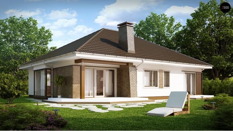 Проект одноэтажного дома с четырьмя спальнями и гаражом - Z205