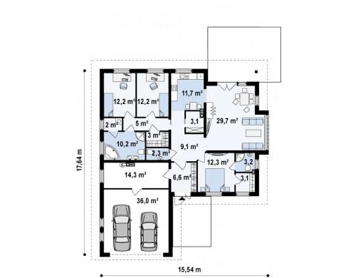 Функциональный одноэтажный дом с фронтальным гаражом для двух авто, большим хозяйственным помещением, с кухней со стороны сада - Z207