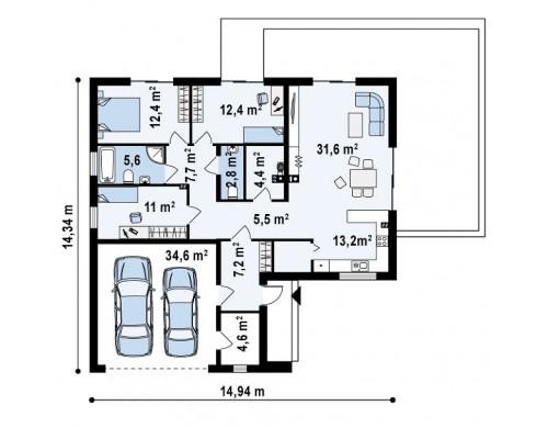 Проект Z208 A Классический вариант реализации фасадов на основе проекта Z208.  Проекты домов и гаражей