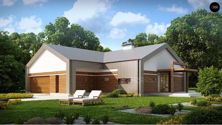 Проект современного одноэтажного дома необычного дизайна - Z208