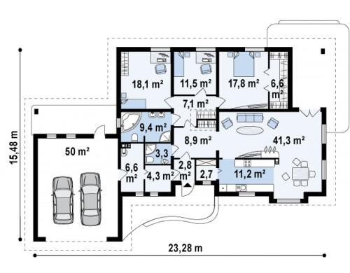 Проект одноэтажного дома с просторной гостиной и гаражом для двух машин - Z21