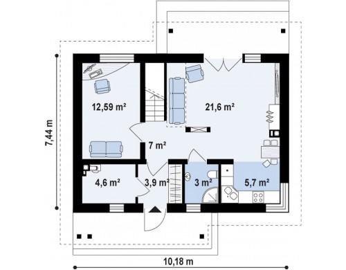 Проект односемейного дома с дополнительной спальней на первом этаже - Z210
