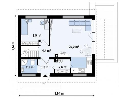 Проект дома с дополнительной спальней на первом этаже, простой в строительстве, недорогой в эксплуатации - Z211