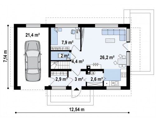 Проект Z211 GL Версия проекта Z211 с гаражом для одного авто слева.  Проекты домов и гаражей