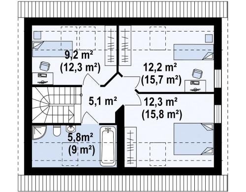 Проект дома в традиционном стиле с двускатной крышей - Z213