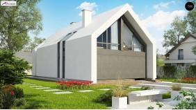 Проект Z215 A Мансардный дом со встроенным гаражом для одного автомобиля.  Проекты домов и гаражей