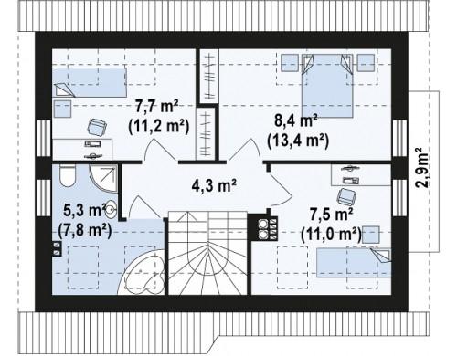 Проект дома с удобной планировкой, с навесом для автомобиля - Z216