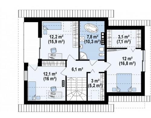 Проект Z219 Проект аккуратного мансардного дома, с современным дизайном фасадов.  Проекты домов и гаражей