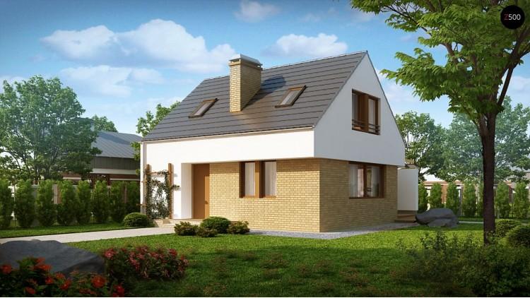 Проект дома простой формы с большой площадью остекления в дневной зоне - Z221