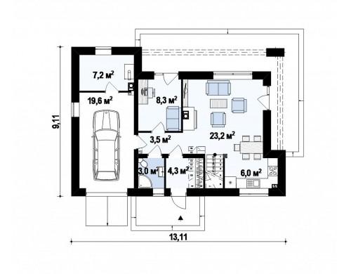 Проект современного функционального дома с гаражом, с оригинальным выступом над входом - Z222