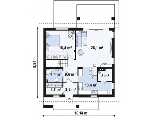Проект дома средних размеров классической формы с двускатной кровлей - Z224