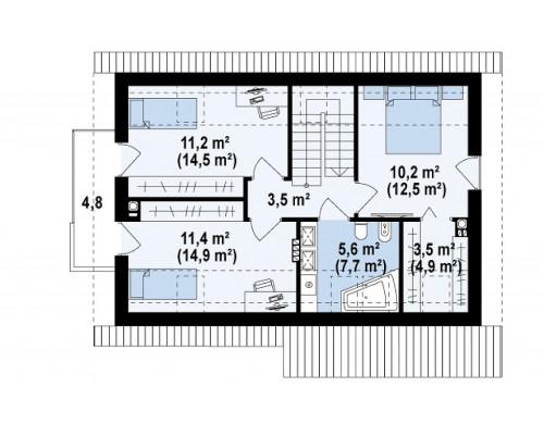 Проект Z225 k Версия проекта Z225 c отделкой фасадов облицовочным кирпичом.  Проекты домов и гаражей