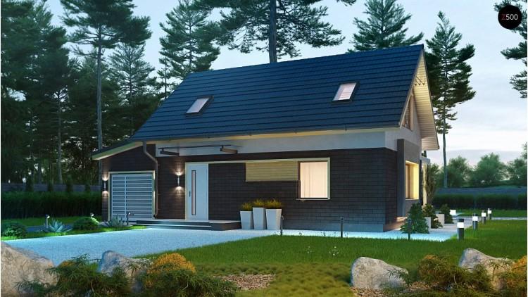 Аккуратный компактный дом с гаражом для одной машины