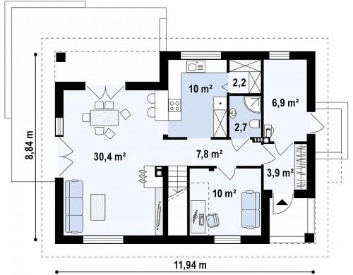 Аккуратный и функциональной дом простой формы, экономичный в строительстве и эксплуатации - Z228