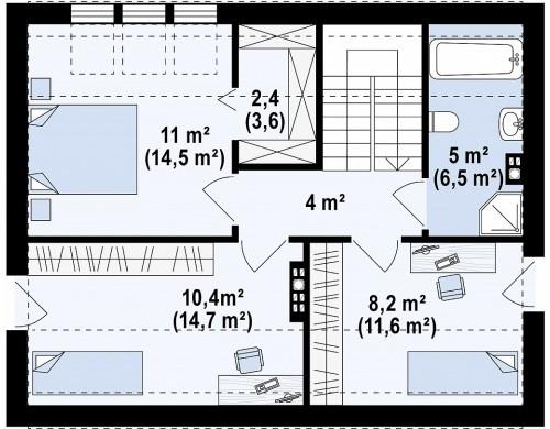Проект энергосберегающего дома стильного современного дизайна - Z229