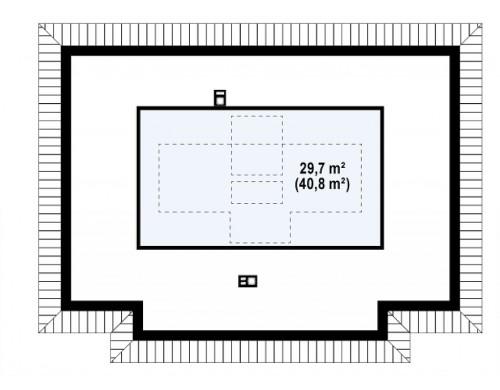 Проект компактного и удобный одноэтажный дом с многоскатной крышей - Z23