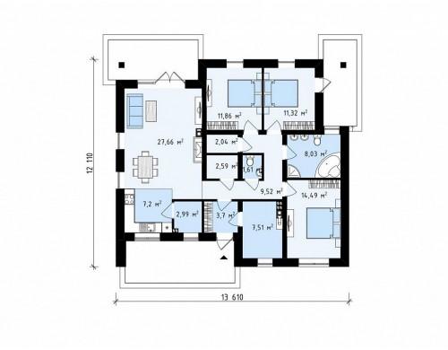 Проект Z230 v1 Вариант одноэтажного проекта Z230 c изменениями в планировке.  Проекты домов и гаражей