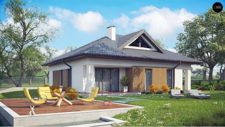 Проект Z230 Проект комфортного одноэтажного дома с оригинальными фасадными окнами на чердаке.  Проекты домов и гаражей
