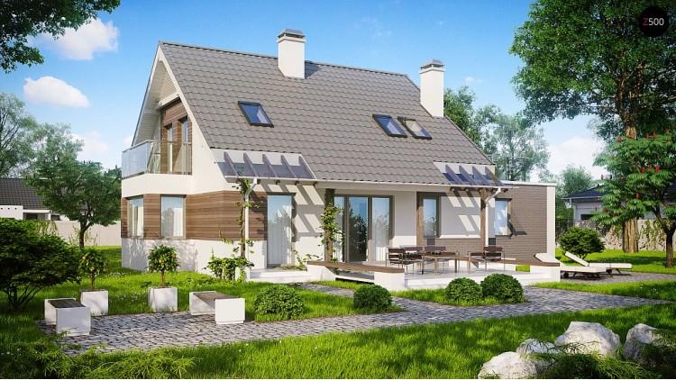 Проект удобного дома с эркером, балконом и террасой над гаражом - Z231