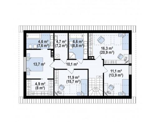 Проект комфортного мансардного дома для большой семьи