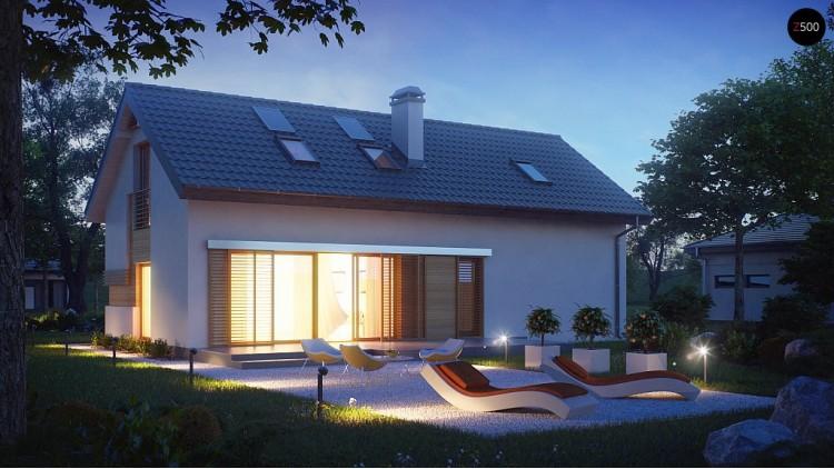 Проект практичного дома с высокой мансардой, большой площадью остекления в гостиной - Z232