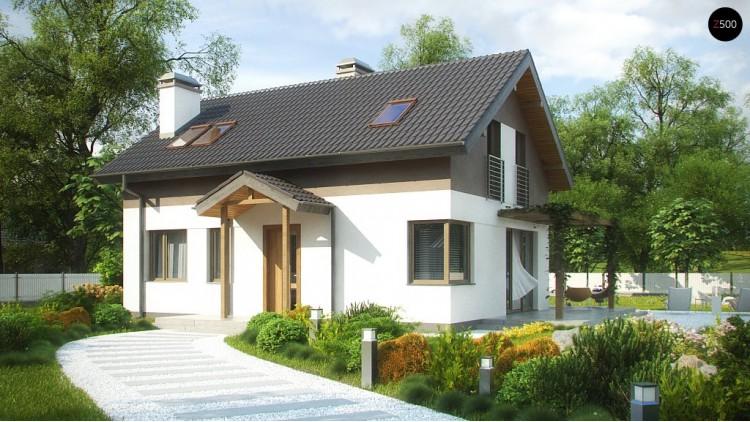 Проект компактного дома простой формы с угловым окном в кухне и светлой гостиной - Z233