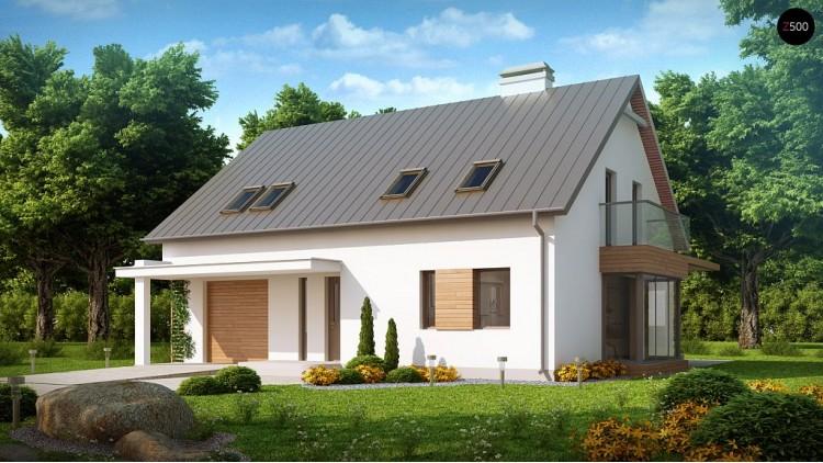 Проект комфортного дома с мансардой, со стеклянным эркером и гаражом - Z234