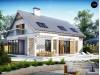 Проект дома с гаражом для одной машины, со стеклянным эркером и балконами - Z235