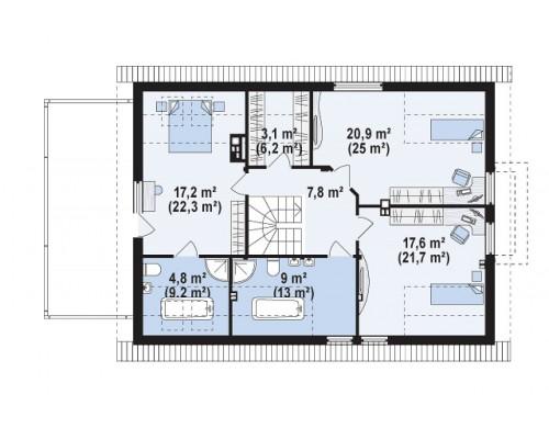 Проект Z236 GL2 Версия проекта Z236 с увеличенным гаражом для двух автомобилей.  Проекты домов и гаражей