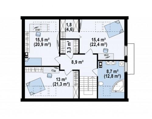 Проект дома с гаражом простого аккуратного дизайна - Z237