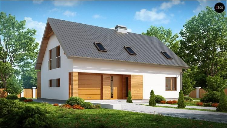 Проект дома с мансардой, с большим техническим помещением и кабинетом на первом этаже - Z239