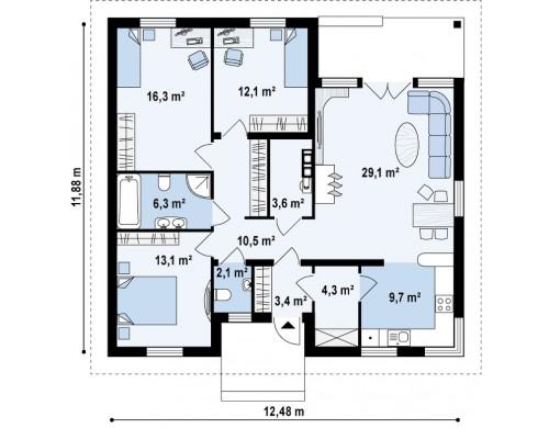 Проект Z24 k Версия проекта Z24 с кирпичными фасадами.  Проекты домов и гаражей