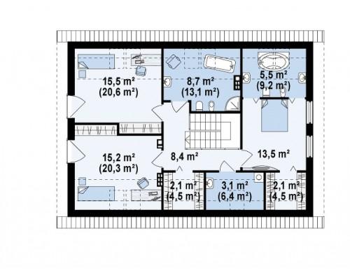 Проект дома простой традиционной формы с гаражом и дополнительной спальней на первом этаже - Z240