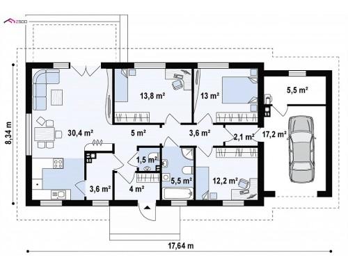 Проект Z241 GP HB Одноэтажный дом с гаражом на одну машину.  Проекты домов и гаражей