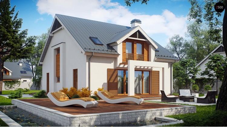 Проект дома традиционной формы с элегантными современными элементами в архитектуре - Z246