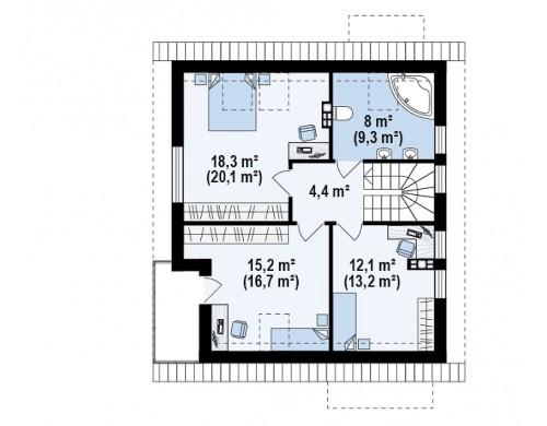Проект дома с мансардой, с высокой аттиковой стеной, с дополнительной комнатой на первом этаже - Z248