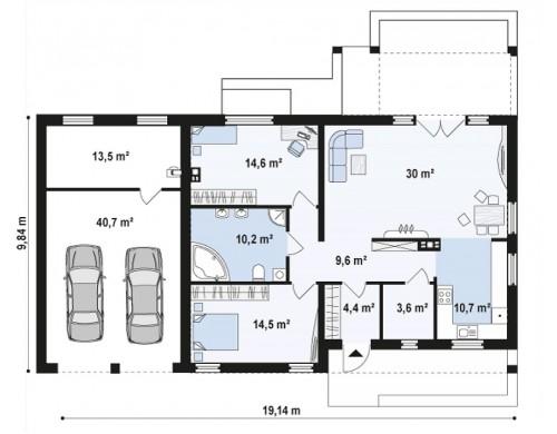 Проект Z251 GL2 Версия проекта Z251 с пристроенным гаражом для двух автомобилей.  Проекты домов и гаражей