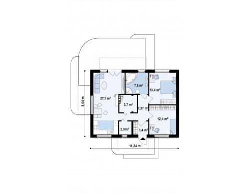 Проект компактного одноэтажного дома современного дизайна со светлым интерьером - Z252