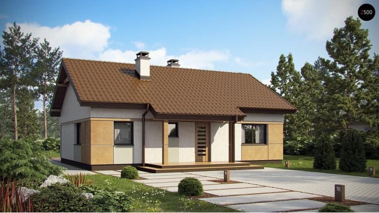 Проект Z253 Компактный, уютный одноэтажный дом с двускатной крышей.  Проекты домов и гаражей