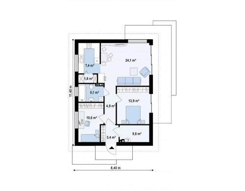 Проект компактного одноэтажного дома с боковым входом - Z254