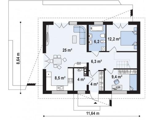 Небольшой одноэтажный дом с оригинальным оформлением террас - Z255 A