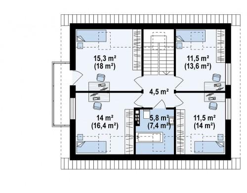 Проект Z255 B pc Вариант Z255 c жилой мансардой  Проекты домов и гаражей