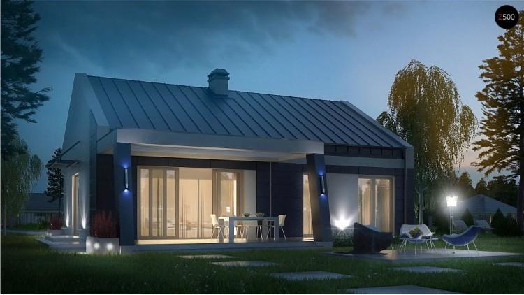 Проект одноэтажного дома современного дизайна с необычным оформлением террасы - Z256