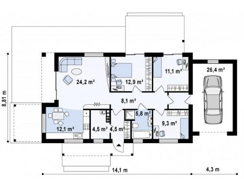 Проект Z258 GP Версия проекта Z258 с гаражом пристроенным справа.  Проекты домов и гаражей