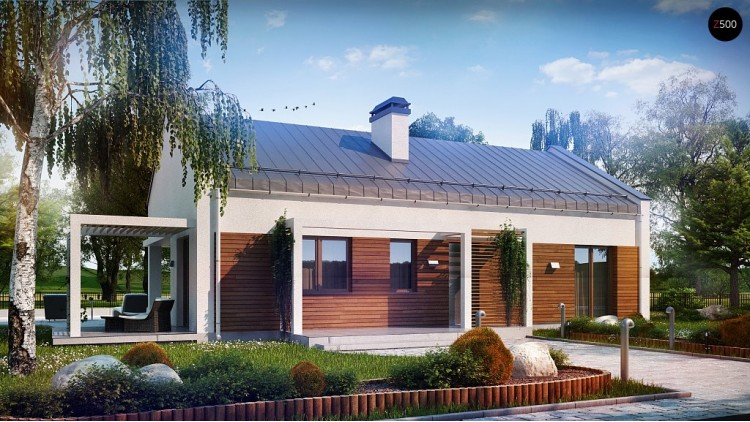 Проект небольшого одноэтажного дома простого современного дизайна - Z258